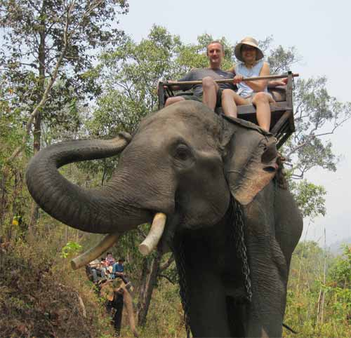 Maesa Elephant Camp: Hero Material and Nadia Lee on an elephant