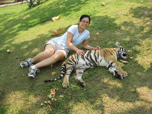 Tiger Kingdom: Nadia Lee and tiger