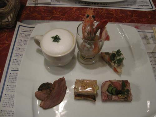 soup, shellfish and pate platter