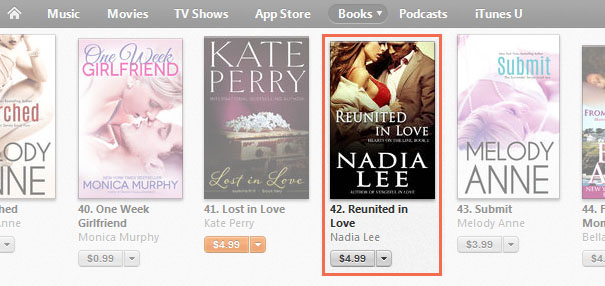 January 29 2014 Reunited in Love Hits Apple Contemporary Romance Seller #42